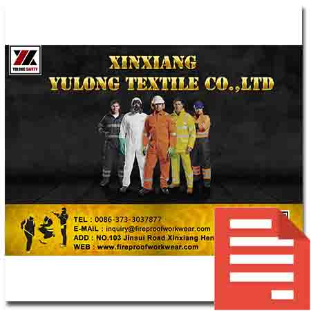 Yulong Textile Safety Workwear Catalogue