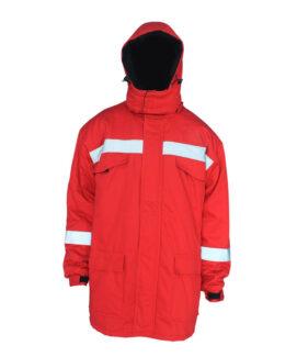red winter flame retardant jacket